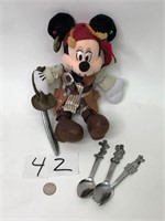 Mickey Mouse & Minnie Pluto spoons & fork