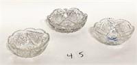 3 Cut Glass Bowls