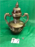 Tibetan Double Handled Copper Dragon Vessel