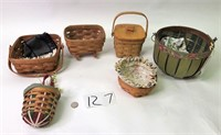 6 Longaberger Baskets (1 wall hanger) & inserts