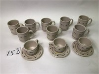 8 Longaberger Coffee Cups & Cup & Saucers