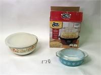 Stir Crazy Popcorn Popper, Pyrex Covered Dish