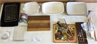 Cutting boards cutlery, Corningware etc
