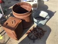 Galvanized bucket, stove burners and other rusted