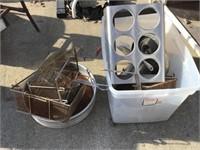 Fryer baskets, silverware container rack