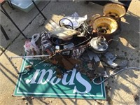 Rims, brass valve, lantern, miscellaneous
