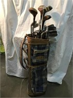 Golf bag and clubs including Spaulding and