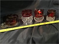 Red and clear glass souvenirs