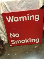 Warning no smoking metal sign 24 inch