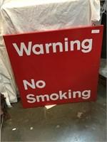 Warning no smoking metal sign, 24 inch