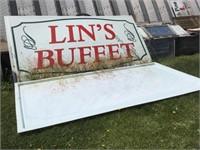 (2) Lins Buffet Plastic Sign, 12 X 6 Feet