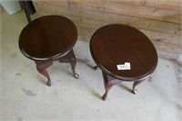 2 Oval End Tables with Drawer