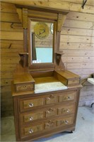 Antique Dresser with Marble Top & Mirror