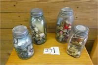 4 Vintage Jars - Buttons & Thimble