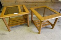 2 Glass Top End Tables (1 with Magazine Rack)