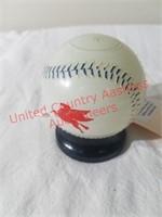 Vintage Mobil Glass Baseball Bank