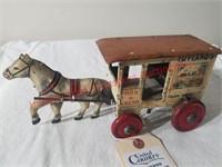 Marx Tin Wind Up Horse Drawn Milk Wagon