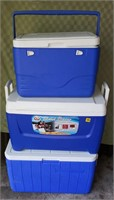 3 Blue Coolers
