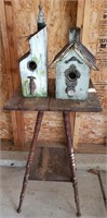 2 Rustic Birdhouses w/ Table