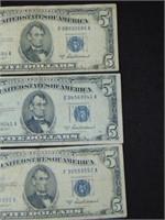 1953A $5 Silver Certificates