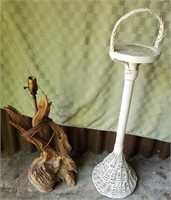 Driftwood Lamp and Wicker Stand