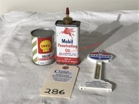 Mobil& Shell Oil Cans & Thermometer