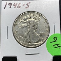 1946-S WALKING LIBERTY SILVER HALF DOLLAR