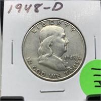 1948-D FRANKLIN SILVER HALF DOLLAR