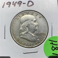1949-D FRANKLIN SILVER HALF DOLLAR