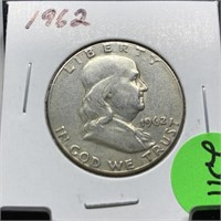 1962 FRANKLIN SILVER HALF DOLLAR