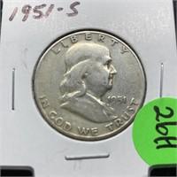 1951-S FRANKLIN SILVER HALF DOLLAR