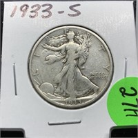 1933-S WALKING LIBERTY SILVER HALF DOLLAR