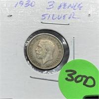 1930 3 PENCE SILVER COIN