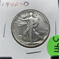1942-D WALKING LIBERTY SILVER HALF DOLLAR