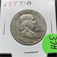1957-D FRANKLIN SILVER HALF DOLLAR