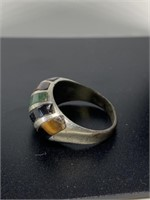 STERLING SILVER INLAY STONE RING