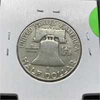 1954-D FRANKLIN SILVER HALF DOLLAR