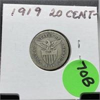 1919 20 CENTAVOS SILVER COIN