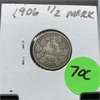 1906 1/2 MARK SILVER COIN