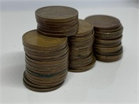 1 ROLL 50 ALL TEENS WHEAT PENNY COINS