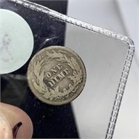 1914-D BARBER SILVER DIME COIN