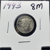 1943 MERCURY SILVER DIME