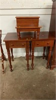 2 Cherry 1 Drawer Stand Tables, Bed Step
