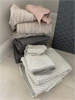 ASSORTED TOWELS & HAMPER