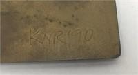 Signed KNR Modernist Brooch Brass Enamel