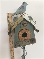 Metal Bird House on Stand