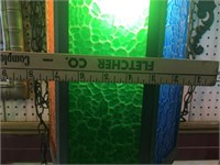 Pair of Colored Glass Hanging Light Fixtures