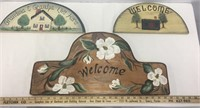 Three Piece Wood Hand Painted Welcome Signs