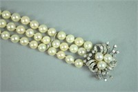 PEARL BRACELET W/DIAMOND BROOCH CLASP CONVERSION