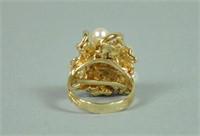 14K PEARL & DIAMOND CLUSTER RING